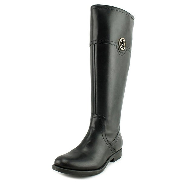 Tommy Hilfiger Silvan 2 Wide Calf Women Round Toe Leather Black Knee High Boot