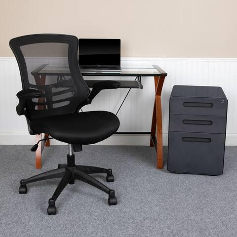 3PC Office Set-Glass Computer Desk, Ergonomic Mesh Office Chair, Filing Cabinet