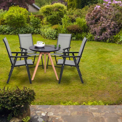 4pcs Outdoor Teslin Folding Chair Gray