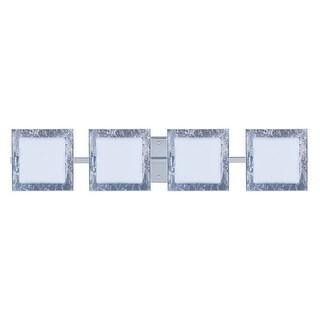BESA Lighting 4WS-7735SF Alex 4 Light ADA Compliant Halogen Bathroom Vanity Light with Opal / Silver Foil Glass Shades