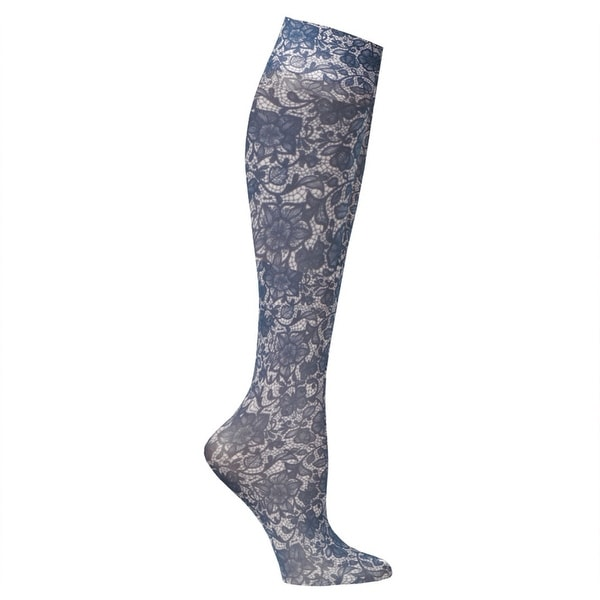 Celeste Stein Moderate Compression Knee High Stockings Wide Calf-Navy Lace - Medium