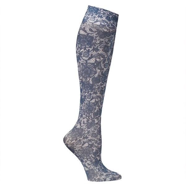Printed Mild Compression Wide Calf Knee High Stockings - Women's - Navy Lace