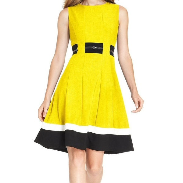 fda925c4b3f Shop Calvin Klein Yellow Black Womens Size 10 Colorblocked Sheath Dress -  Free Shipping On Orders Over  45 - Overstock - 21835137