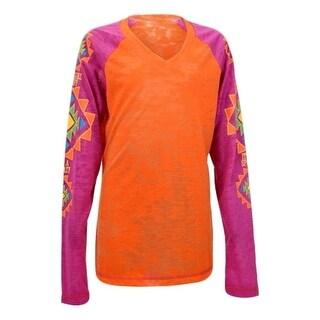 Cowgirl Tuff Western Shirt Girls Long Sleeve Burnout Tee Orange 100099