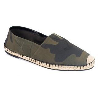 Valentino Men's Green Camo Canvas Espadrilles Slip-On Shoes