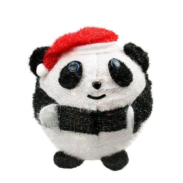 "20"" Lighted 3-D Chenille Chubby Panda Bear in Santa Hat Outdoor Christmas Yard Art Decoration"
