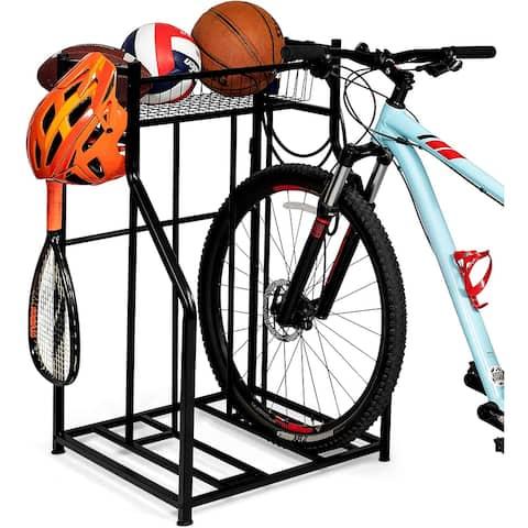 BIRDROCK HOME 2 Bike Stand Rack with Storage - Compact - Road, Mountain, Hybrid or Kids Bikes - Sports Storage Station