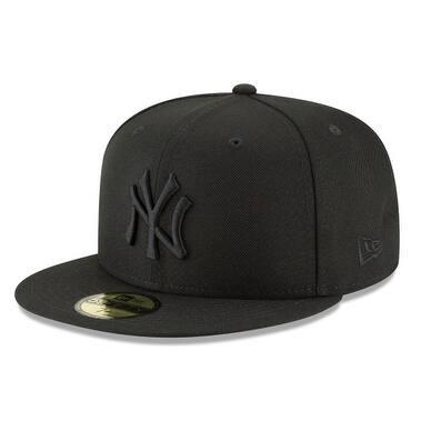 New Era Mens Mlb Basic Ny Yankees 59Fifty Fitted Cap, Black/Black