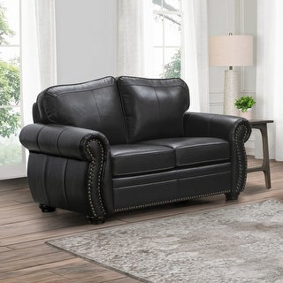 Link to Abbyson Richfield Brown Top Grain Leather Loveseat Similar Items in Living Room Furniture