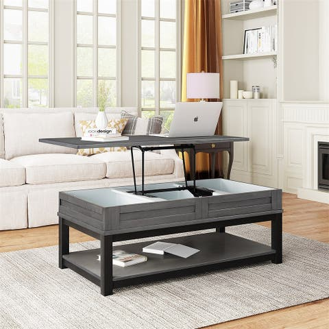 Merax Lift Top Coffee Table with Inner Storage Space and Shelf
