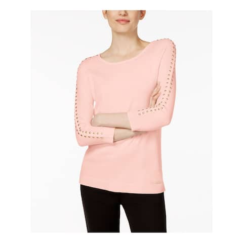 CALVIN KLEIN Womens Pink Studded 3/4 Sleeve Sweater Size L