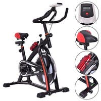 Costway Exercise Bicycle Indoor Bike Cycling Cardio Adjustable Gym Workout Fitness Home - black with red