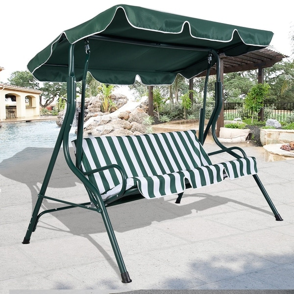 Costway Green Outdoor Patio Swing Canopy 3 Person Awning Yard Furniture  Hammock Steel