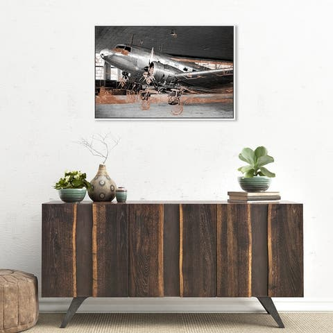 Oliver Gal 'Aviation Copper' Transportation Wall Art Framed Canvas Print Airplanes - Gray, Bronze