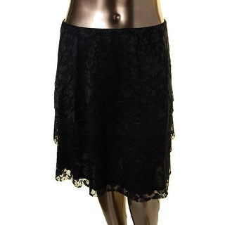 MSK Womens Tiered Skirt Lace Overlay Mid-Calf