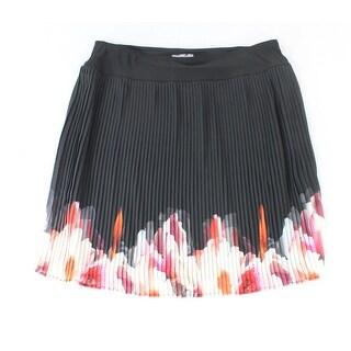 Trisisto NEW Black Women's Size PXL Petite Pleated Floral Print Hem Skirt
