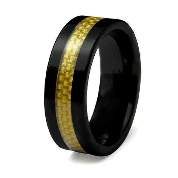 8mm Black Ceramic Ring with Golden Carbon Fiber Inlay (Sizes 9-12)