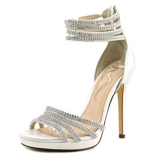 Nina Finisa Women Open Toe Canvas Silver Sandals