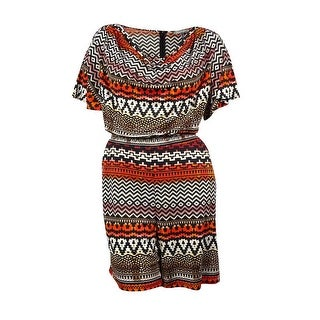 NY Collection Women's Chain-Trim Cowl Tribal Romper