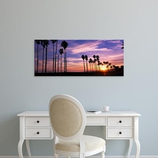 Easy Art Prints Panoramic Images's 'Silhouette of palm trees at sunset, Santa Barbara, California, USA' Canvas Art