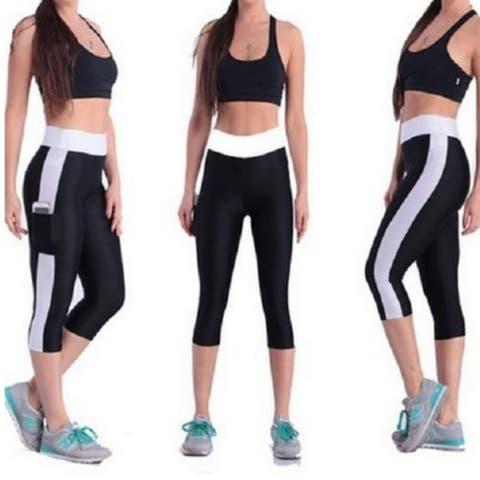ed14b5b86f1ec8 Women Elastic Yoga Tights Running Cropped Workout Leggings Fitness Pants