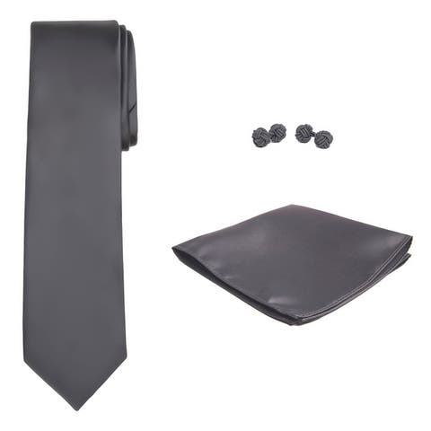 Jacob Alexander Solid Color Men's Tie Hanky and Cufflink Set - One Size