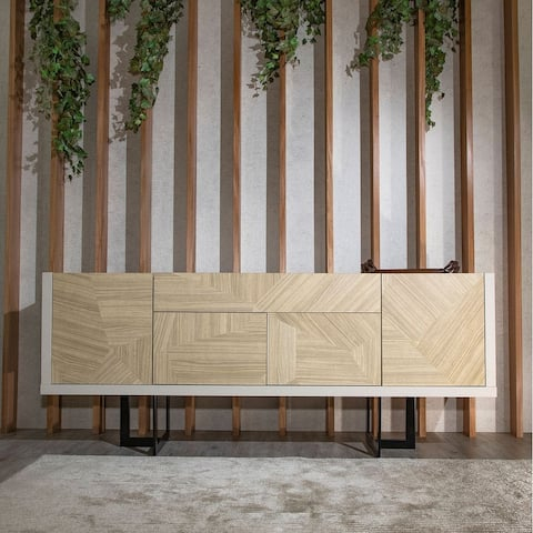 Celine 70.86 Buffet Stand with Push to Open Doors and Steel Legs in Off White and Nude Mosaic Wood
