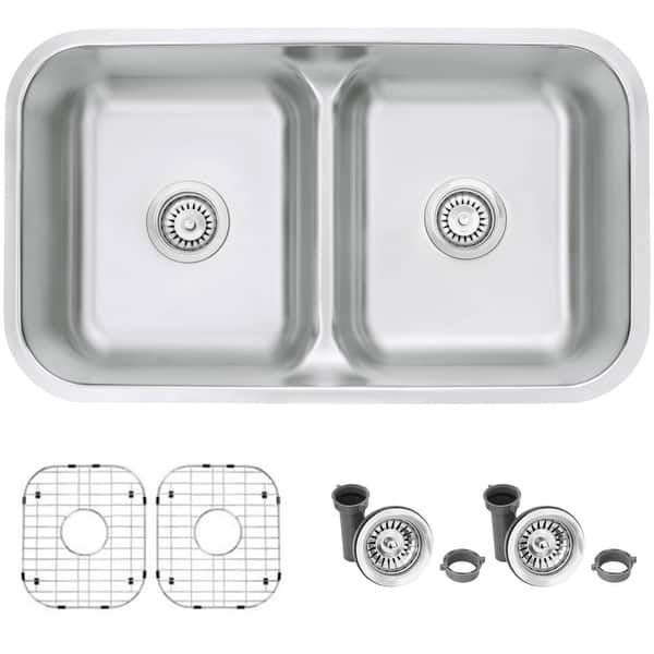 32 L X 18 W Stainless Steel Double Basin Undermount Drop In Kitchen Sink With Grids And Strainers On Sale Overstock 31733939
