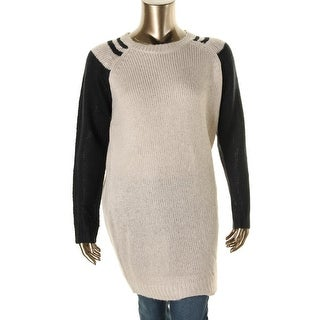 Extra Touch Womens Plus Tunic Sweater Colorblock Crew Neck