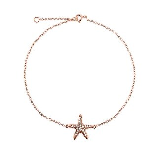 Bling Jewelry Pave CZ Rose Gold Plated Silver Happy Starfish Anklet 8.5in