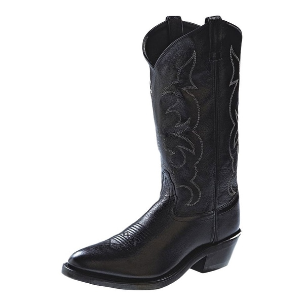 Old West Cowboy Boots Mens Tough Work Narrow Toe Black