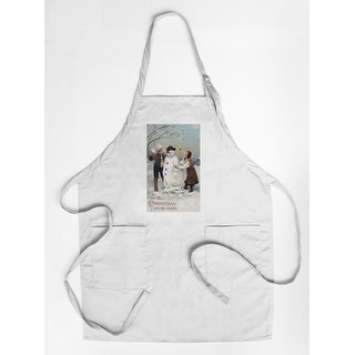 All Christmas Joy Be Yours Kids Making Snowman Scene - Vintage Holiday Art (Cotton/Polyester Chef's Apron)