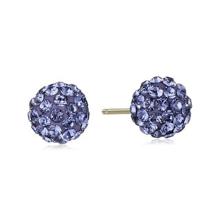 Crystaluxe Ball Stud Earrings with Purple Swarovski Crystals in 14K Gold