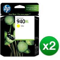 HP 940XL High Yield Yellow Original Ink Cartridge (C4909AN) (2-Pack)