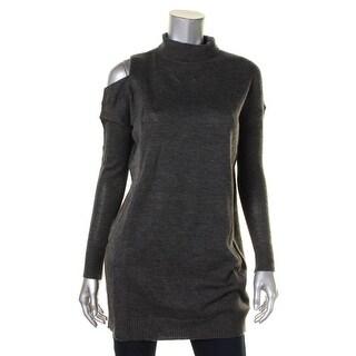 John & Jenn Womens Turtleneck Sweater Heathered Ribbed Knit - XS