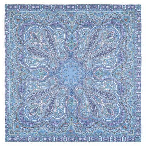 Russian Pavlovo Posad Eastern Travel Cotton Scarf / Shawl (Blue)