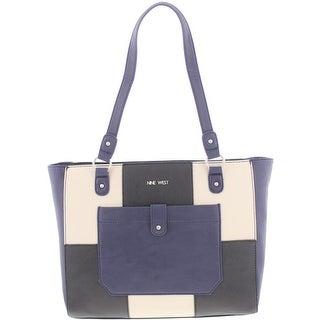 Nine West Womens Those Pockets Tote Handbag Faux Leather Colorblock - Medium