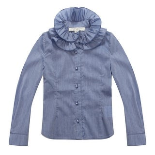 Richie House Baby Girls Periwinkle Ruffled Collar Blouse 12M