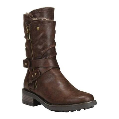 Carlos by Carlos Santana Women's Sawyer 4 Moto Boot Dark Brown Saddle Fabric