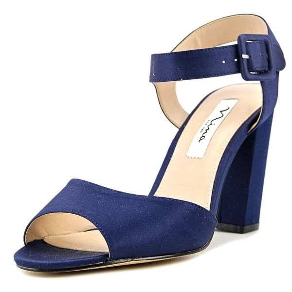 Nina Shirley Women Open-Toe Canvas Blue Heels