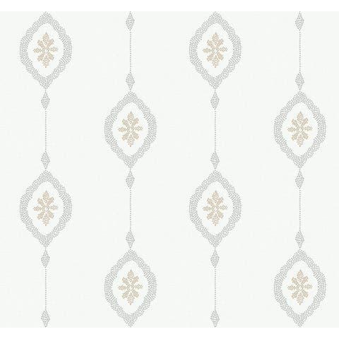 Seabrook Designs Beach House Sand Dollar Stripe Unpasted Wallpaper