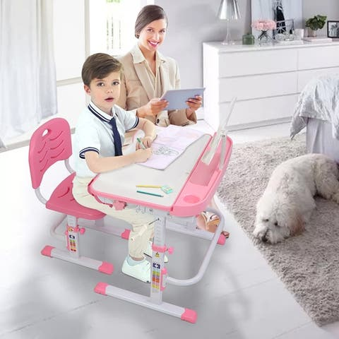 Zimtown Height Adjustable Kids Desk and Chair Set Pink/Grey