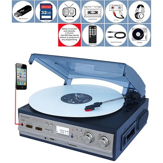 BOYTONE BT-17DJS-C 3-Speed Turntable 2 Built in Speakers Digital LCD Displa