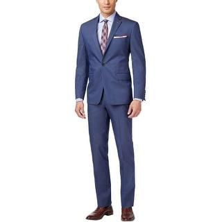 Ryan Seacrest Slim Fit Blue Cotton Blend Suit 44 Regular 44R Pants 37W