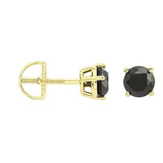 Prism Jewel Round Brilliant Cut G Set Black Diamond Back Stud Earring