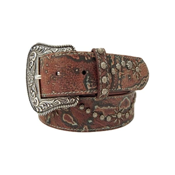 Dan Post Western Belt Womens Scroll Domed Turquoise