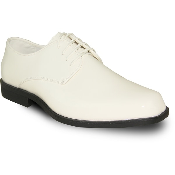 VANGELO Men Dress Shoe TUX-1 Oxford Formal Tuxedo for Prom & Wedding Shoe Ivory Patent -Wide Width Available