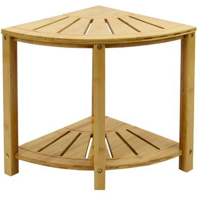 Corner Shower Stool Bench w/ Shelf Waterproof 2-Tier Bamboo Storage
