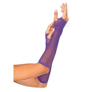 Neon Purple Fishnet Fingerless Elbow Gloves for Costume