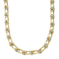 Eternity Gold Men's Oval Chain Link Necklace in 10K White & Yellow Gold - Two-tone
